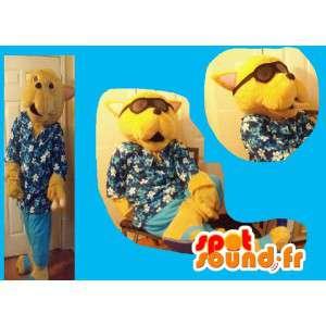 Costume dog dressed in Hawaiian holiday mascot
