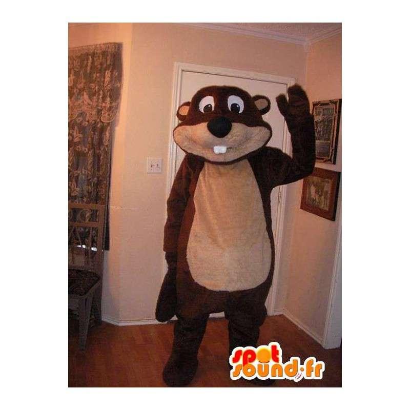 Mascot representerer en bever, tømmerhugger drakt. - MASFR002231 - Beaver Mascot