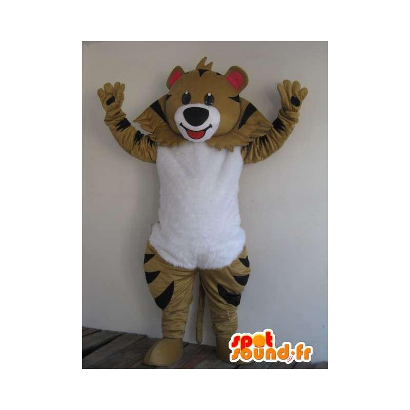 Μασκότ ριγέ καφέ αρκούδα - γιορτινή φορεσιά - κοστούμια ζώων - MASFR00178 - Αρκούδα μασκότ
