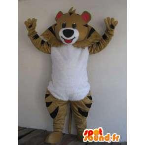 Bär Maskottchen braun gestreift - festliche Kleidung - Tierkostüme - MASFR00178 - Bär Maskottchen