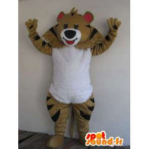 Mascot Bear brown striped - festive Costume - Disguise animal - MASFR00178 - Bear mascot