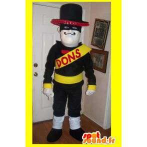 Mascot wat neerkomt op een gemaskerde held, Mexicaanse kostuum - MASFR002233 - superheld mascotte