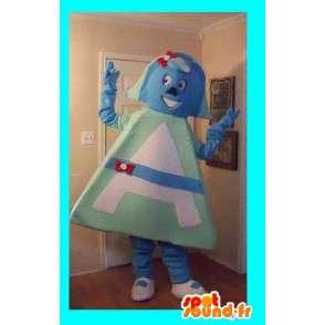 Mascot vrouwelijke hoofdpersoon, driehoekige verhullen - MASFR002237 - Niet-ingedeelde Mascottes