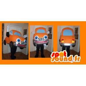 Maskot som representerar en orange bil, nyckelpigadräkt -