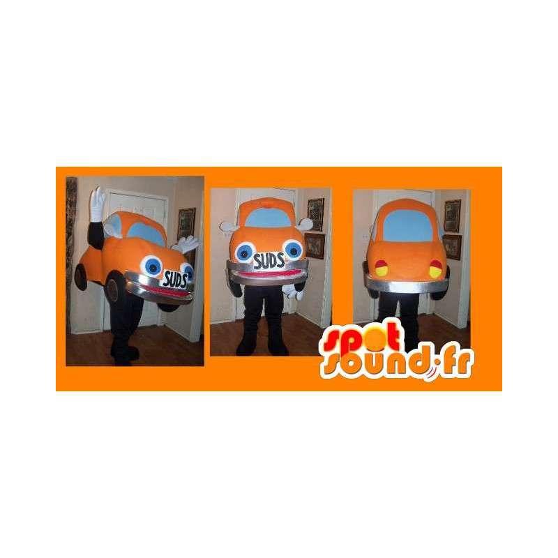 Maskotti edustaa oranssi auto, leppäkerttu puku - MASFR002238 - Mascottes d'objets