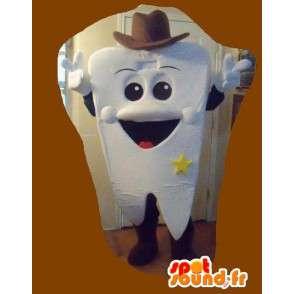 Mascot formet tann cowboy kostyme Sheriff - MASFR002243 - Ikke-klassifiserte Mascots