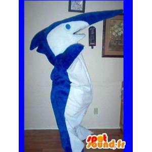 Mascot wat neerkomt op een zaag haai, vissen vermomming