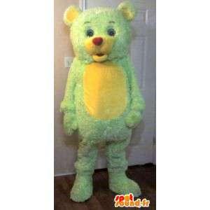 Mascot liten bjørn, bjørn drakt gul og grønn