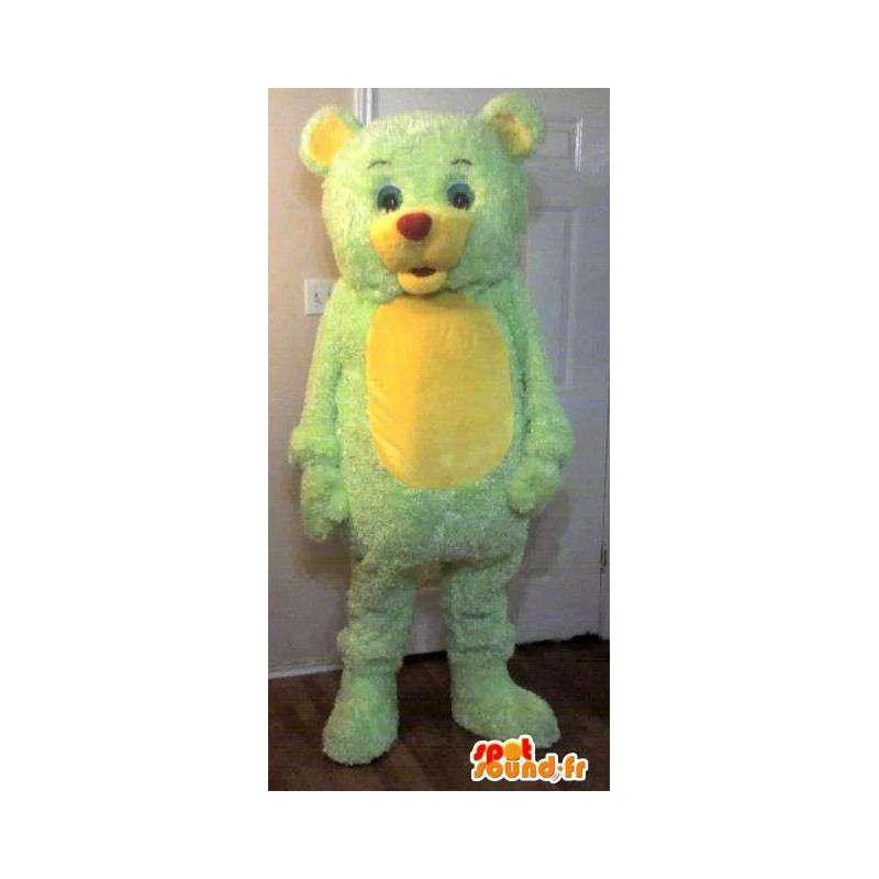 Mascot liten bjørn, bjørn drakt gul og grønn - MASFR002251 - bjørn Mascot