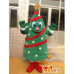 Μασκότ Χριστουγεννιάτικο δέντρο - κωνοφόρων δασών στο κοστούμι και γιρλάντα