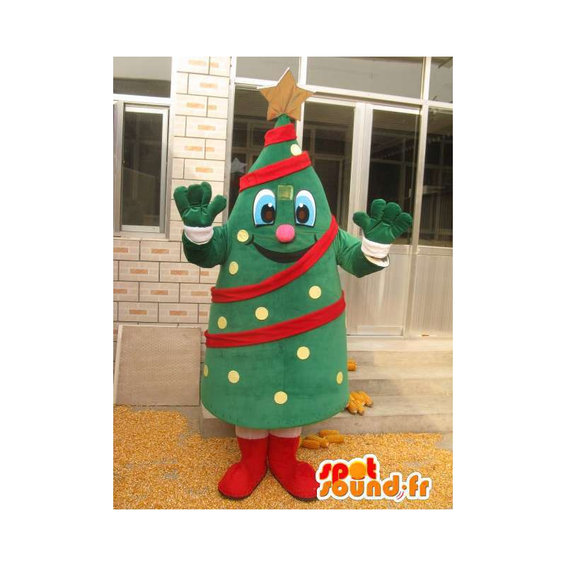 Christmas tree mascot - Coniferous forest in costume and garland - MASFR00179 - Christmas mascots