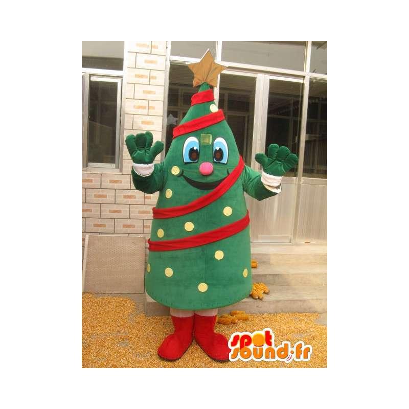 Mascotte sapin de noel - Conifère forêt en costume et guirlande - MASFR00179 - Mascottes Noël
