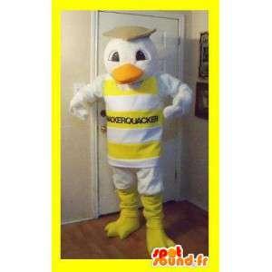 Mascot representerer en and kledd i stripete tank topp