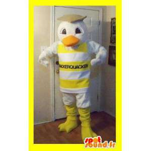 Representing a duck mascot dressed in striped tank top