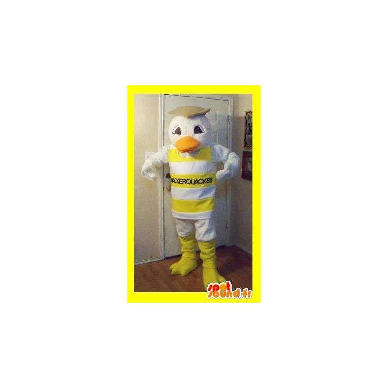 Mascot representerer en and kledd i stripete tank topp - MASFR002254 - Mascot ender