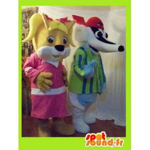 Duo mascots representing a female squirrel and a badger