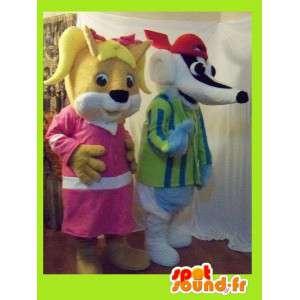 Duo mascottes die een vrouwelijke squirrel en das - MASFR002262 - mascottes Squirrel