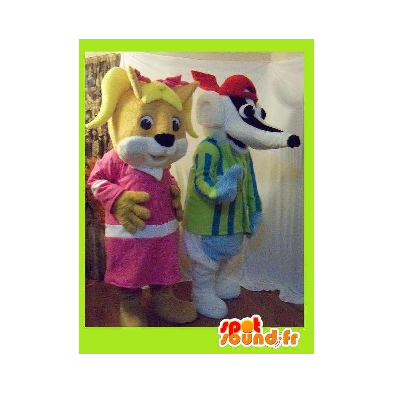 Duo mascots representing a female squirrel and a badger - MASFR002262 - Mascots squirrel