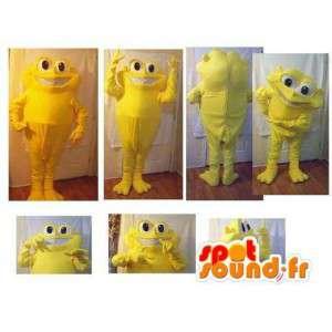 Frog mascot representing a playful yellow