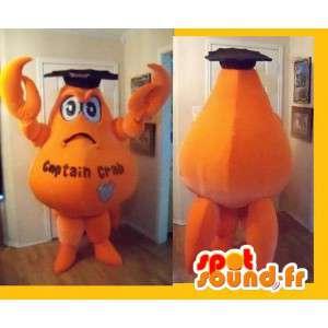 Mascotte représentant un crabe orangé, déguisement de diplômé