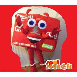 Mascot wat neerkomt op een visitekaartje, kaart vermomming