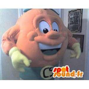 Mascotte représentant une tête en forme de boule, déguisement rond