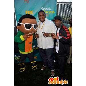 Mascot depicting a young rapper, hip-hop disguise