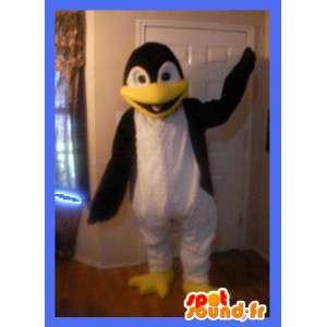 Maskot som representerar en pingvin, förklädnad av isflak -
