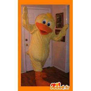 Mascot representing a yellow duck, waterfowl disguise