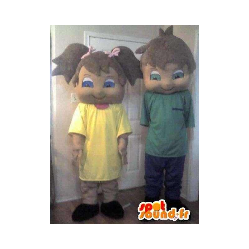 Sammenkoblingen av forkledninger for bror og søster, to kostymer - MASFR002289 - Maskoter gutter og jenter