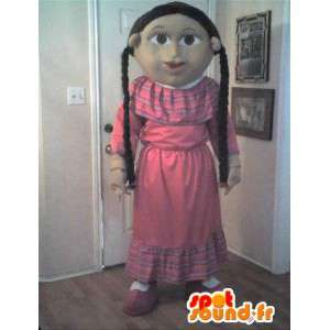 Mascot wat neerkomt op een goed meisje, meisje kostuum