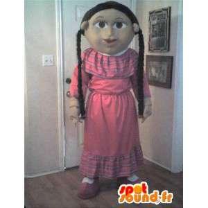 Mascotte représentant une petite fille modèle, déguisement fille