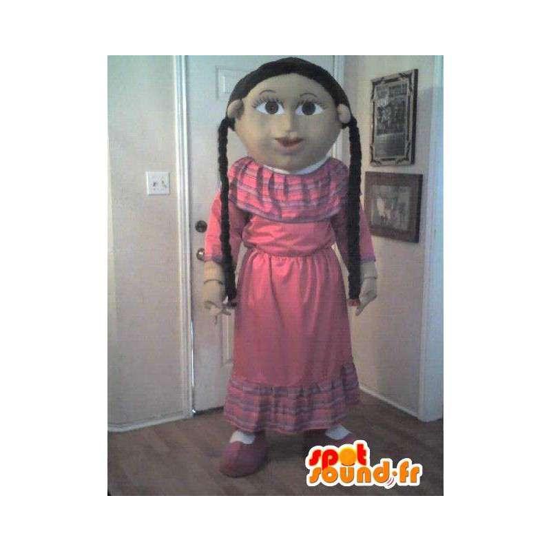 Mascotte représentant une petite fille modèle, déguisement fille - MASFR002296 - Mascottes Garçons et Filles
