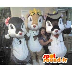 Trio de déguisements de souris, mascottes coquettes