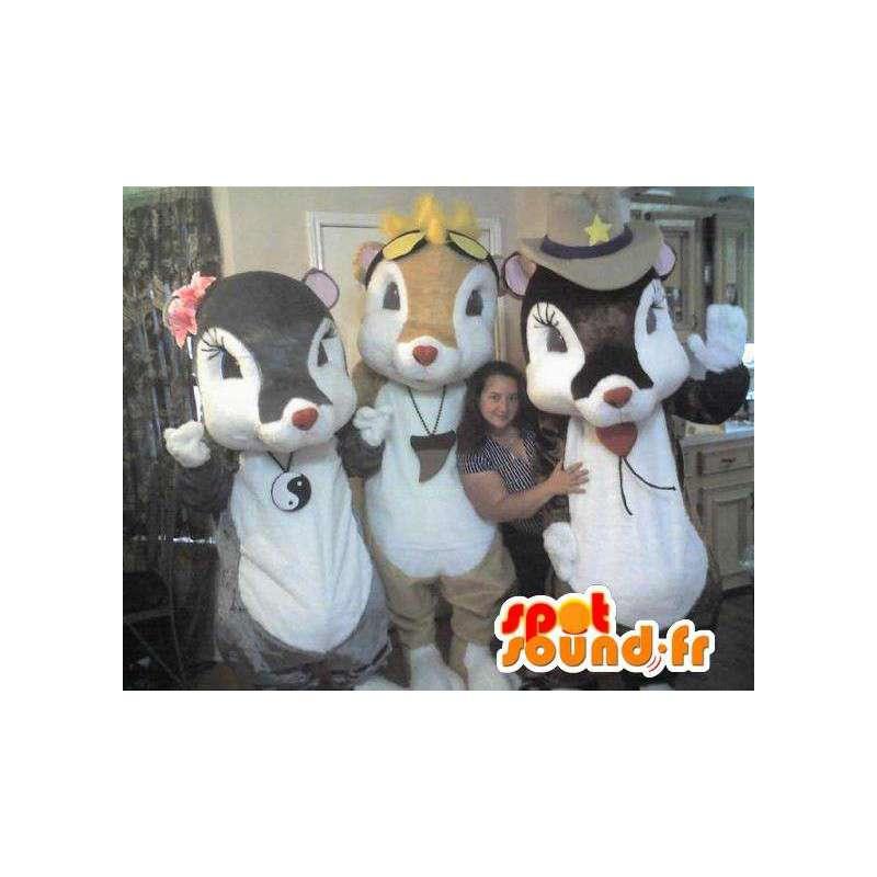Trio costume mouse mascot pretty - MASFR002303 - Mascot of hens - chickens - roaster