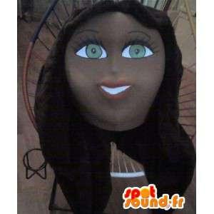 Ung brunettkvinnadräkt, frisörmaskot - Spotsound maskot