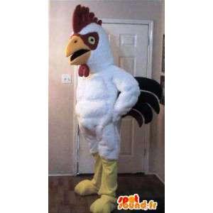 Mascot wat neerkomt op een trotse haan, kip kostuum
