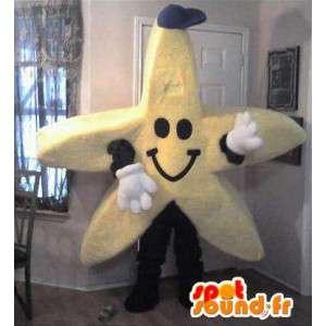 Mascot wat neerkomt op een zeester, ster kostuum
