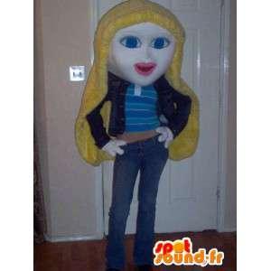 Mascot representing a blonde girl costume