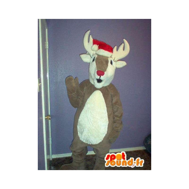 Mascot wat neerkomt op een rendier, kariboe kostuum - MASFR002324 - Forest Animals