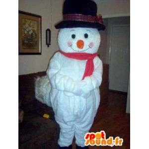 Mascot wat neerkomt op een sneeuwman met zijn hoed