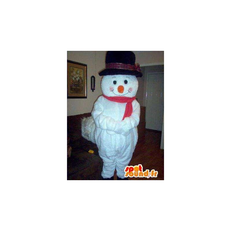 Mascot wat neerkomt op een sneeuwman met zijn hoed - MASFR002326 - man Mascottes