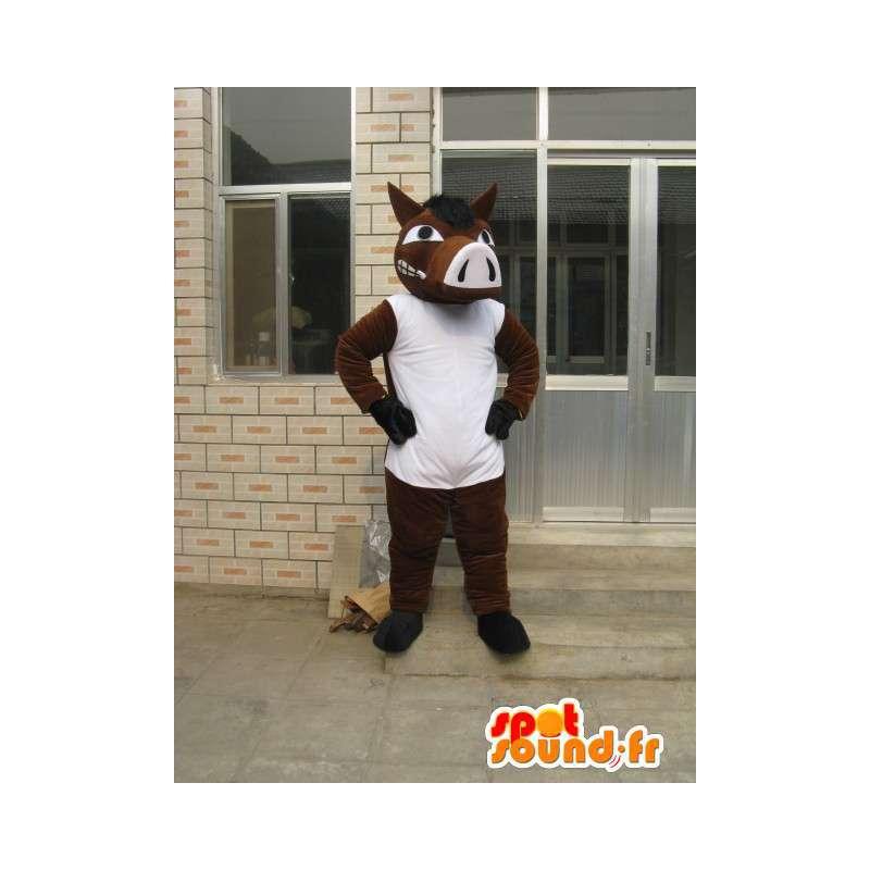 Brown Pferd mit Maskottchen-T-Shirt Weiß - Kostüm Abend - MASFR00183 - Maskottchen-Pferd