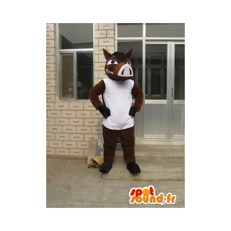 Maskotka Koń Brown z biały T-shirt - Party Costume - MASFR00183 - maskotki koni