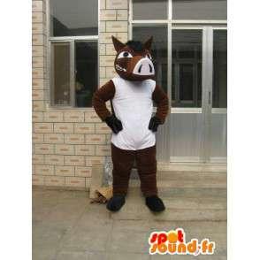 Μασκότ Άλογο Καφέ με λευκό T-Shirt - Κόμμα Κοστούμια - MASFR00183 - μασκότ άλογο