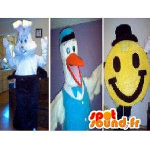 Mascotte Trio formato da un coniglio, una cicogna e uno smiley - MASFR002328 - Mascotte coniglio
