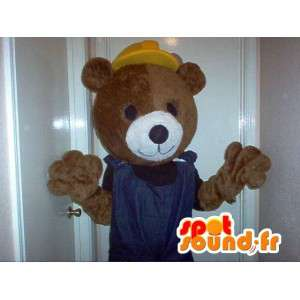 Maskotti edustaa työntekijä karhu, sivusto naamioida - MASFR002329 - Bear Mascot