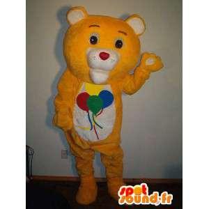 Mascote do urso com balões, ursos de pelúcia disfarce - MASFR002334 - mascote do urso