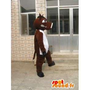 Cavallo marrone con Mascot T-Shirt Bianca - Serata Costume - MASFR00183 - Cavallo mascotte