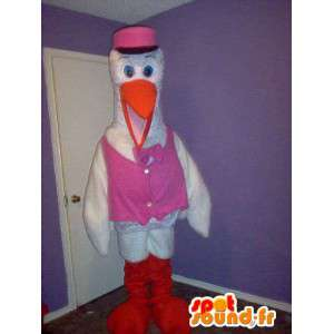 Stork mascot pink vest, disguise birth - MASFR002336 - Mascot of birds